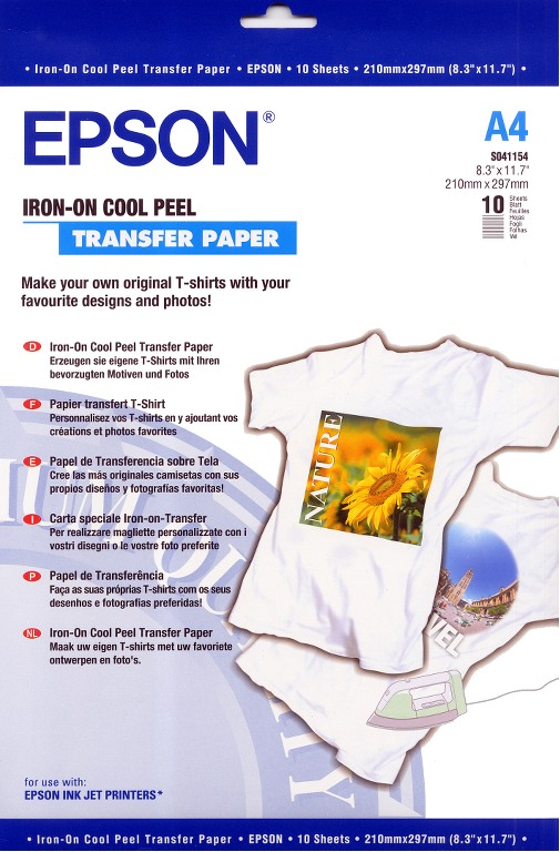 S041154 Бумага Epson Iron-on Cool Peel Transfer Paper (10 листов A4)