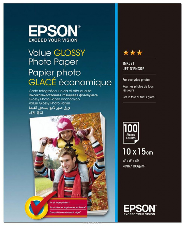S400039 Бумага Epson Value Glossy Photo Paper (100 листов 10x15 см)