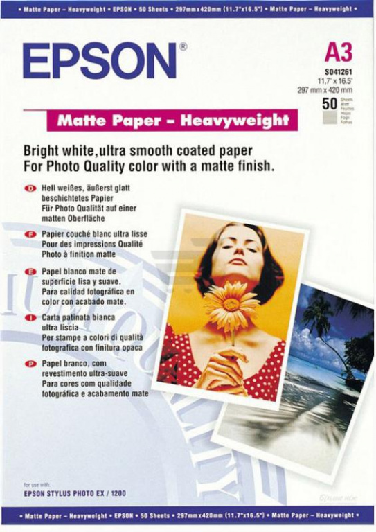 S041261 Бумага Epson Matte Paper - Heavyweight (50 листов A3)