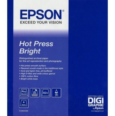 S042330 Бумага Epson Fine Art Paper Hot Press Bright  (25 листов A3+)